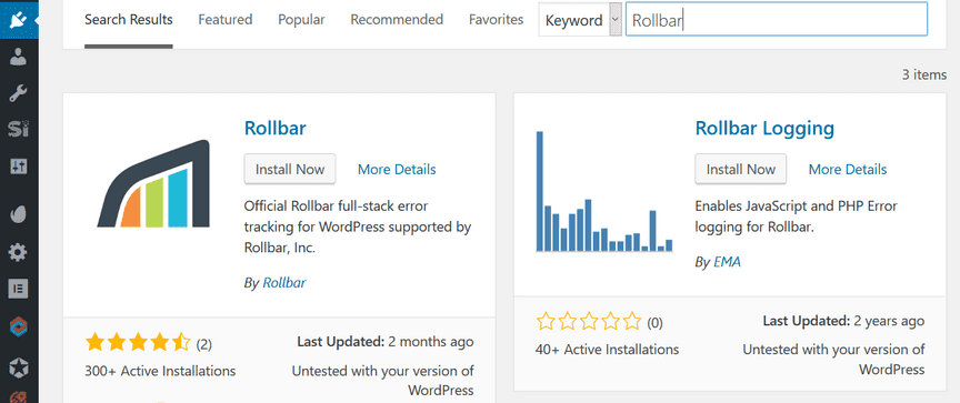 Screenshot of Rollbar WordPress plugin