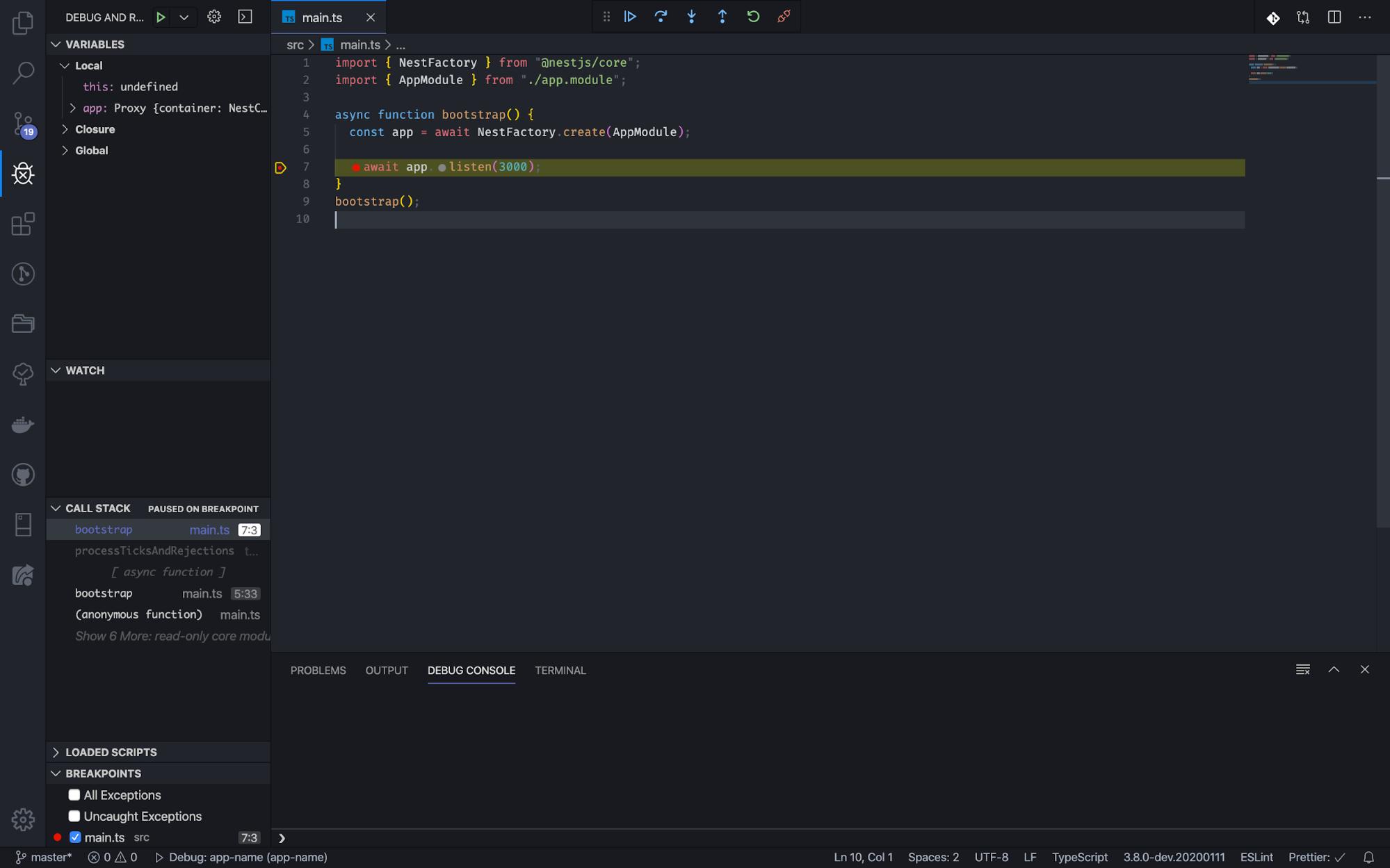 The debugger view in Visual Studio Code