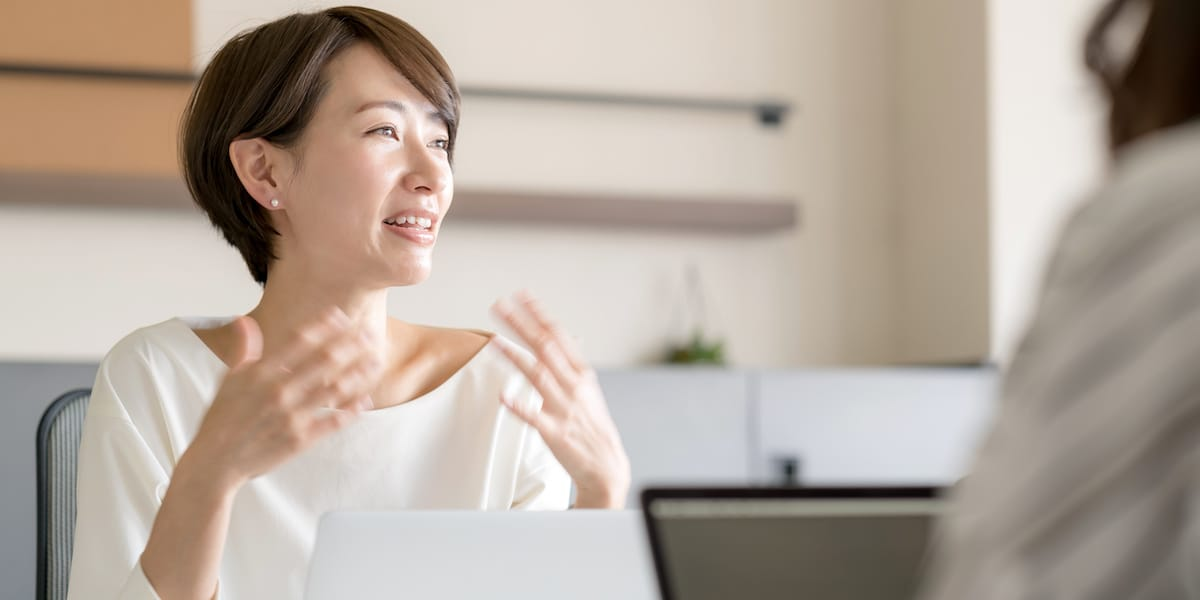 Woman discussing her thoughts on career change