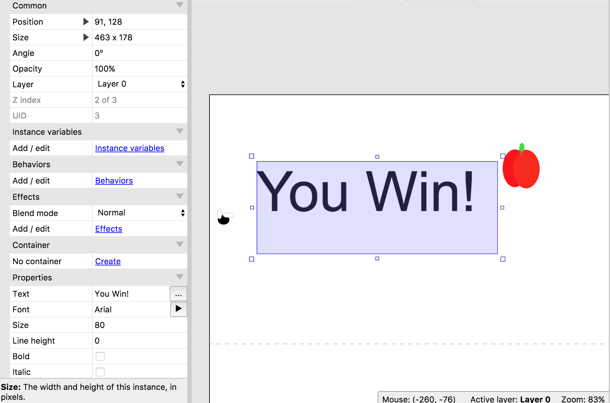 Text showing 'You win!'