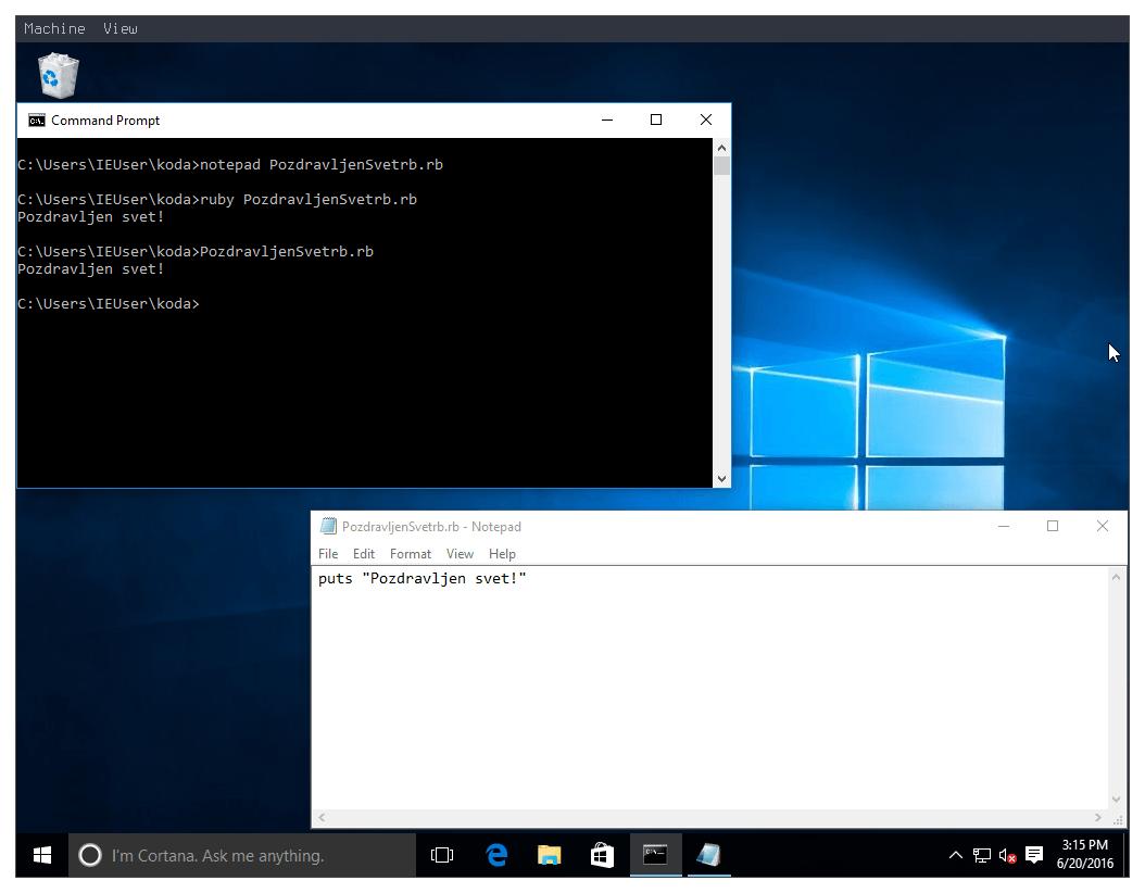 Slika 14: Windows 10 Ruby