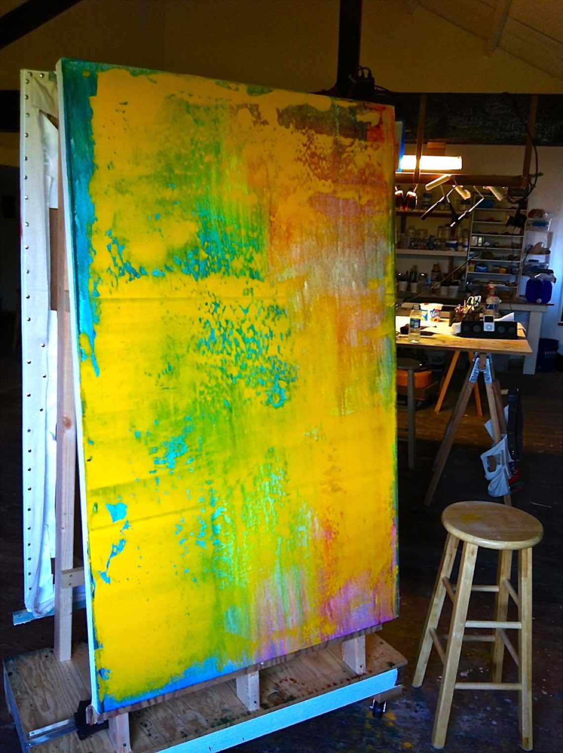 Large acrylic abstract painting in process