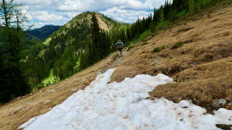 Small patch of snow on the trail