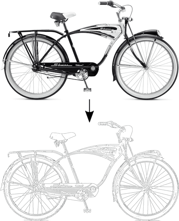 Raster image of bicycle converted to plottable image