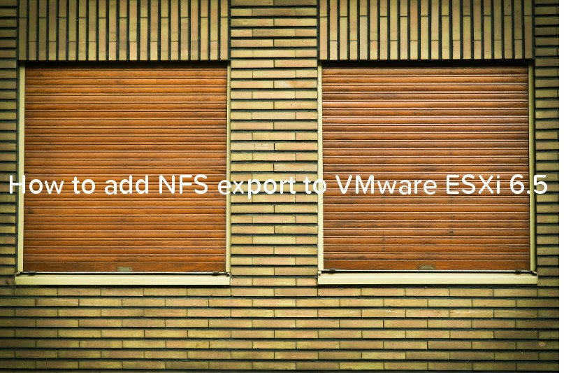 How to add NFS export to VMware ESXi 6.5 - logo""