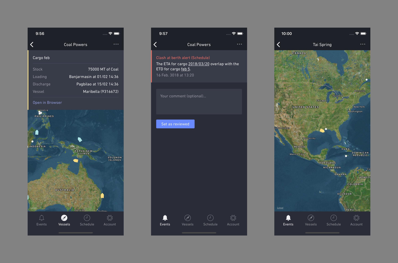 Mobile app details screens for a shipment