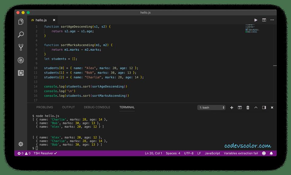 javascript sort object array