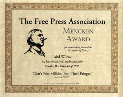 Mencken Award received by Laird Wilcox