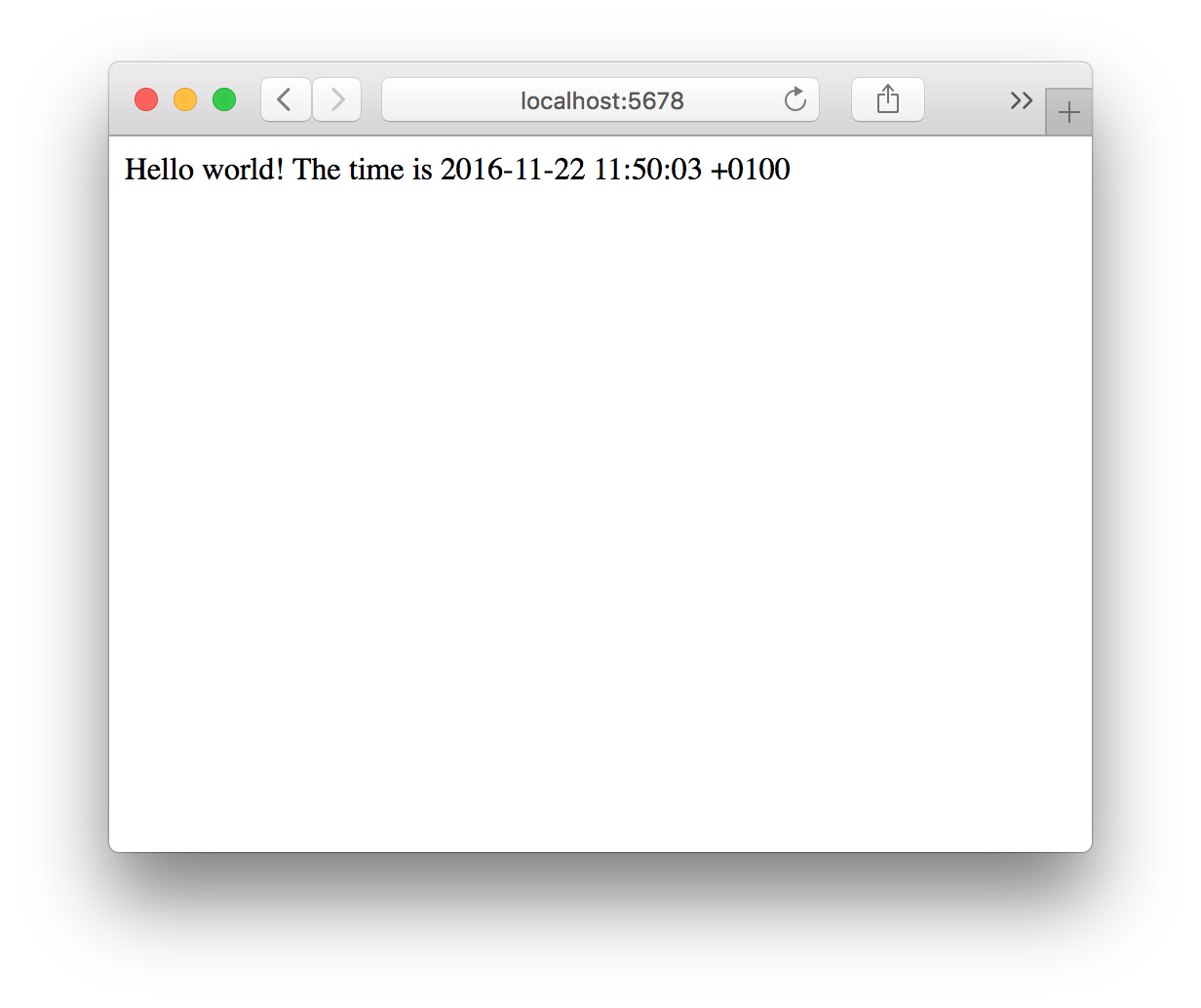 "Our simple Ruby HTTP server returning our ""Hello world""-line"