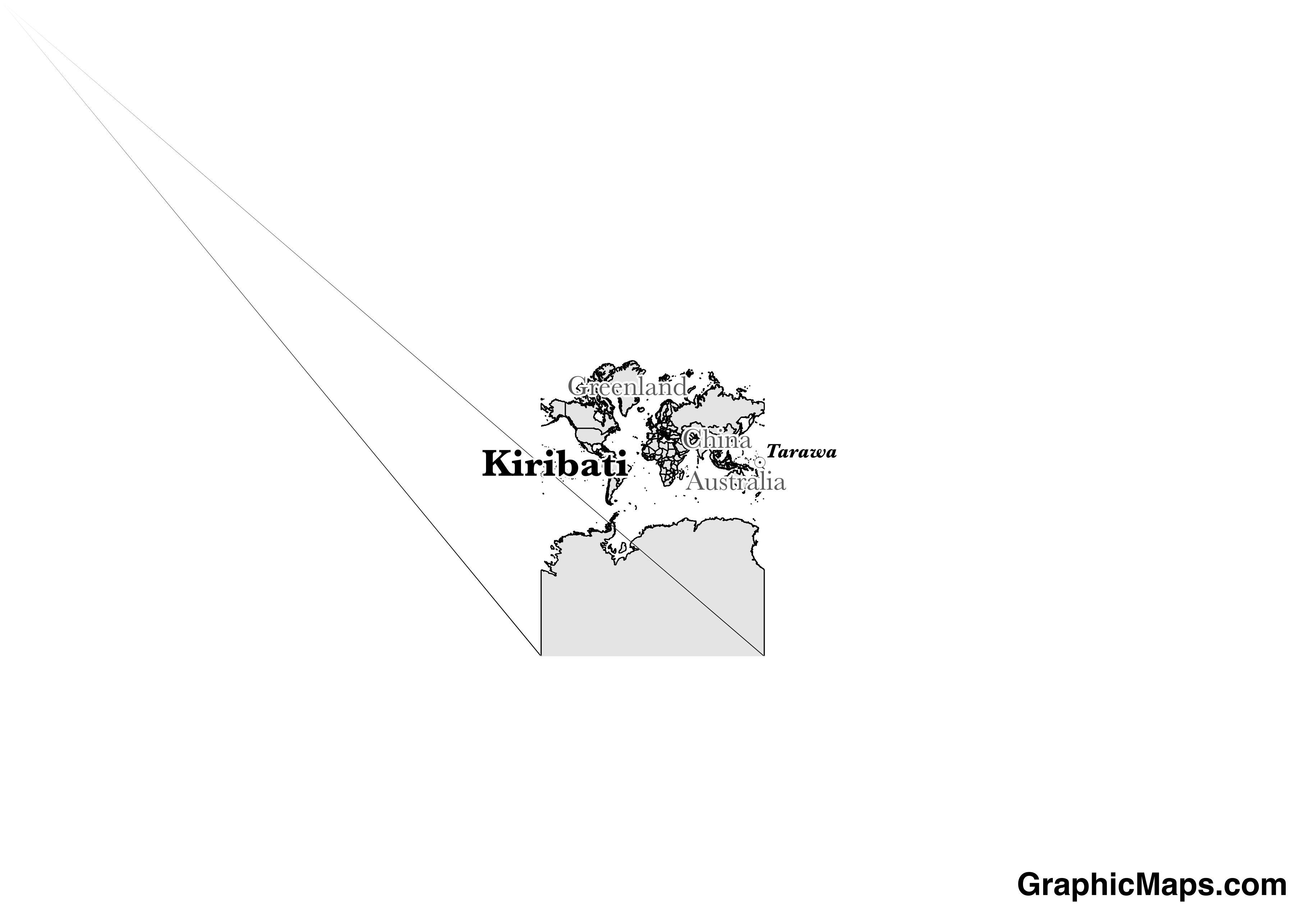 Map showing the location of Kiribati