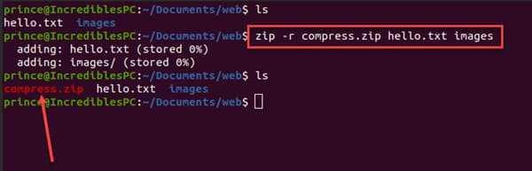 zip folder in linux using terminal