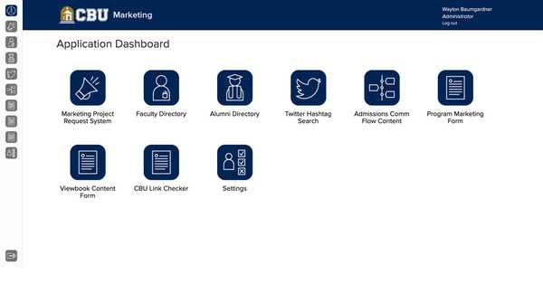 CBU Marketing Applications dashboard