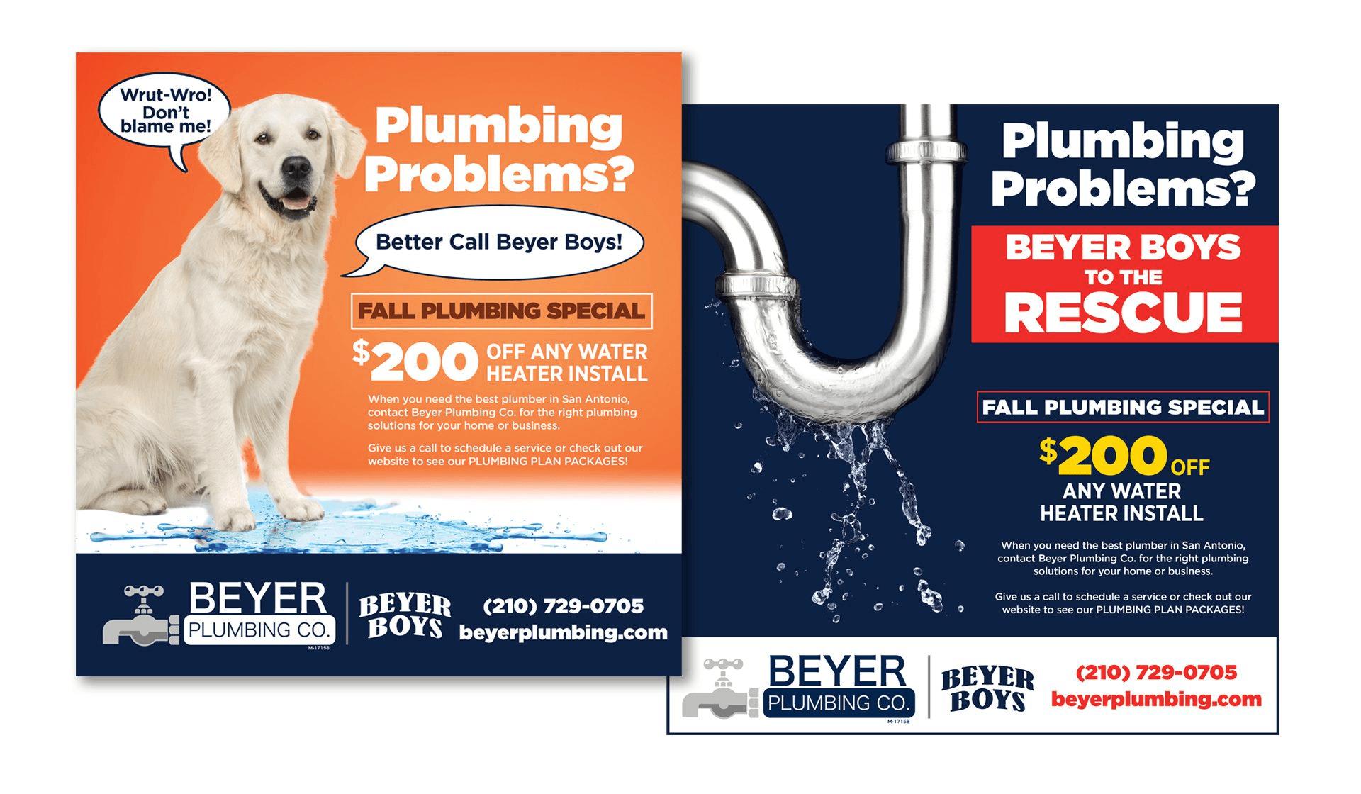 Beyer Plumbing Print Ads