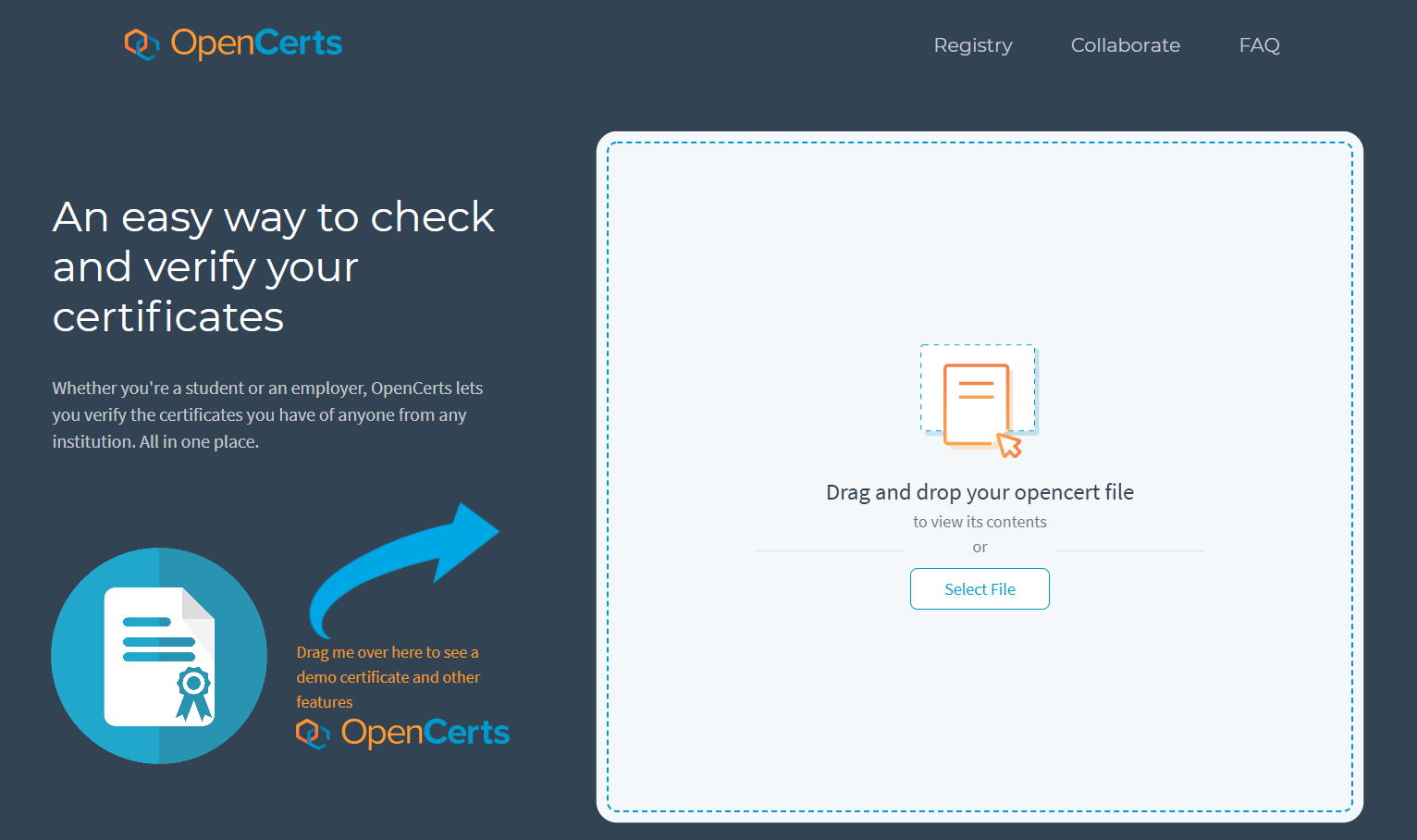 OpenCerts Home Page