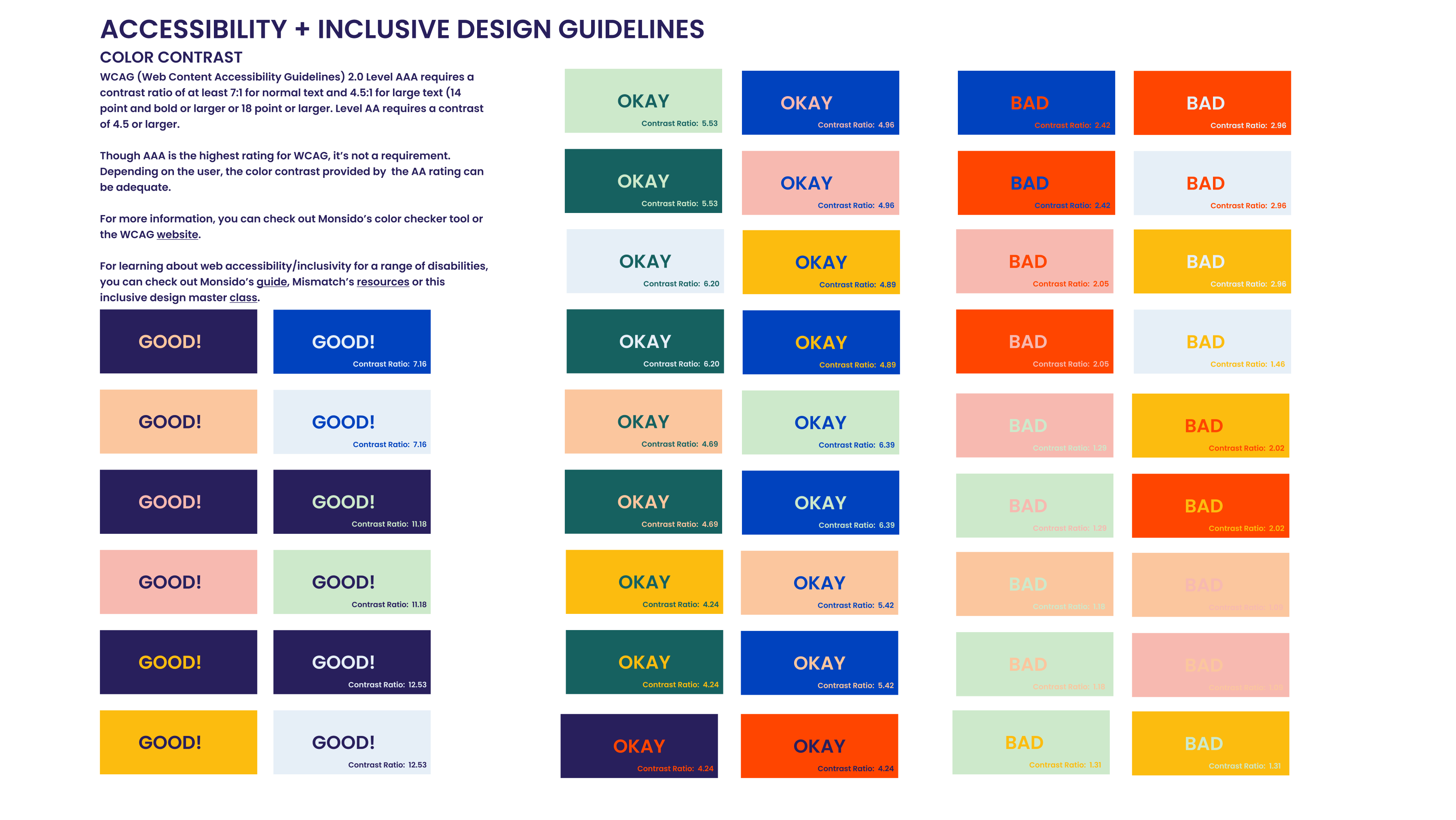 Screenshot of a document with squares of different colors, pointing out which were okay for web accessibility, and which color combinations were not good