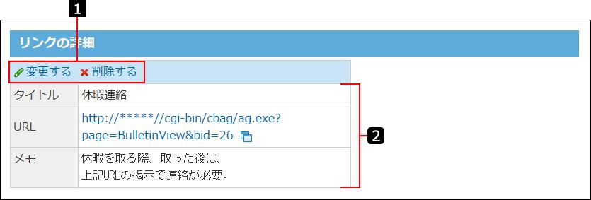 個人リンクの詳細画面を説明する番号付き画像