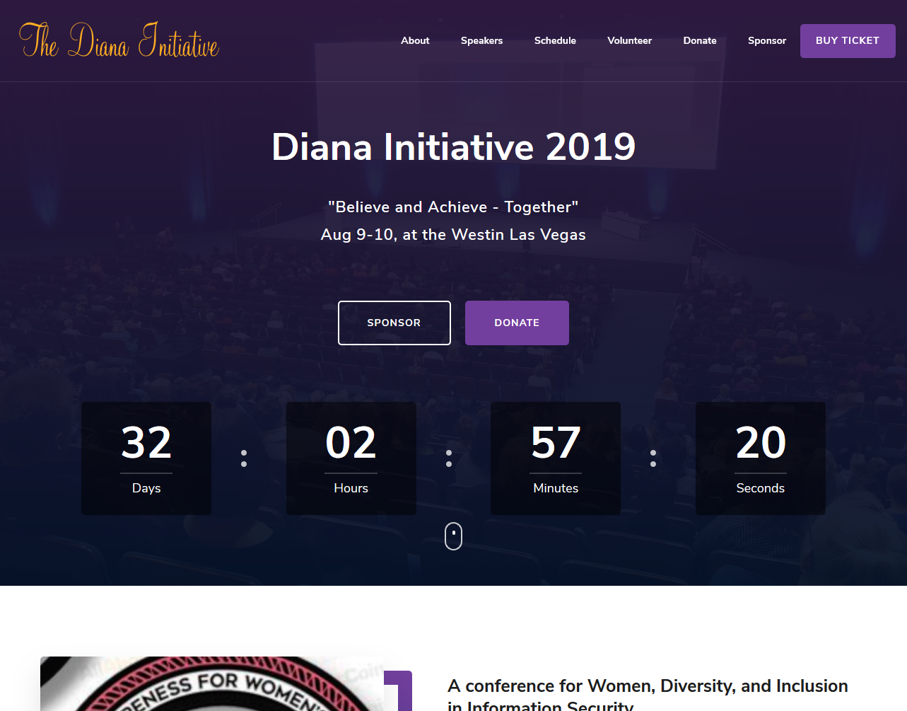 Screenshot of banner at the top of the Diana Initiative homepage