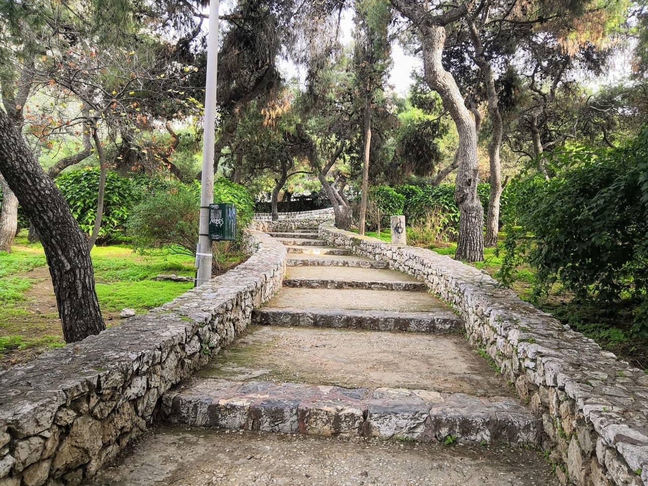 Ascending pathway inside a park