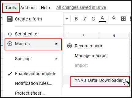Select Tools, Macros, YNAB_Data_Downloader