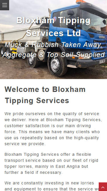 Bloxham Tipping Services website frontpage on a mobile