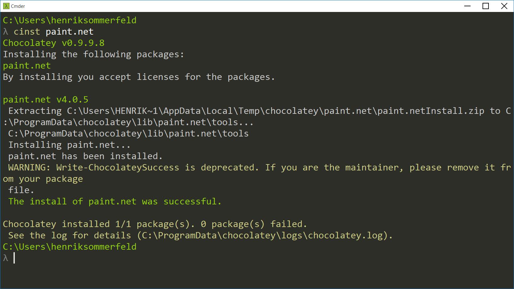 Installing Paint.NET through command line