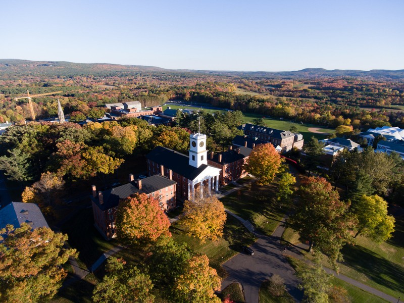 Aerial view of Amherst College in the fall