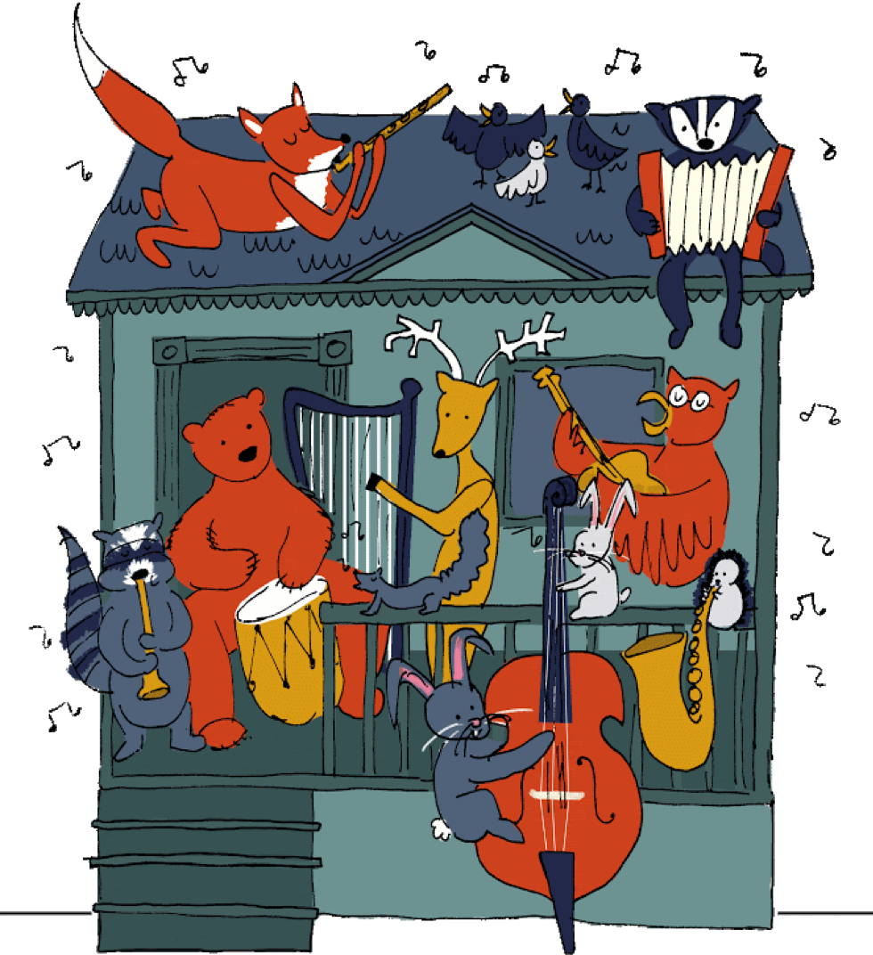 Whimsical illustration of animals playing instruments on the porch of a house