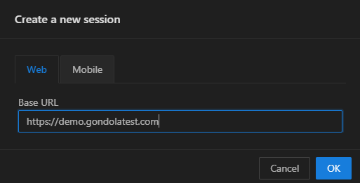 create new session dialog