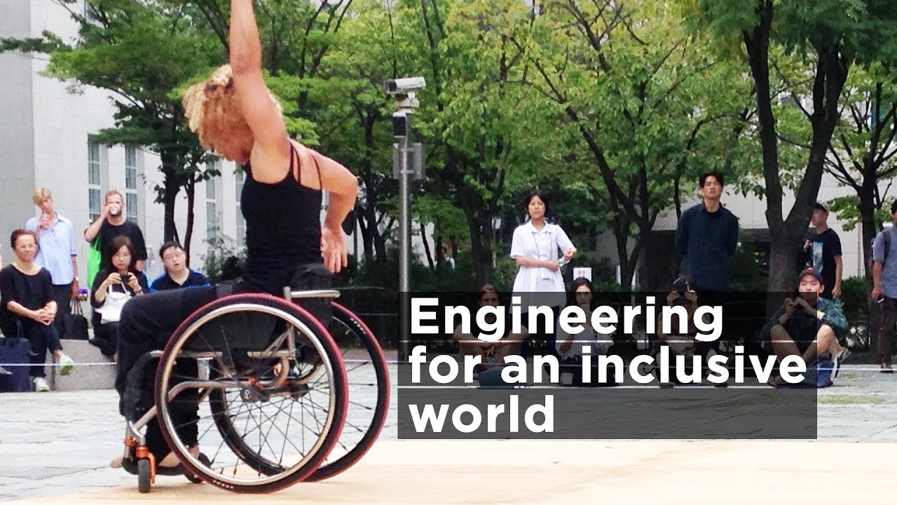 a still from the video showing Alice Sheppard mid-dance in Seoul, with Engineering for an Inclusive World in type