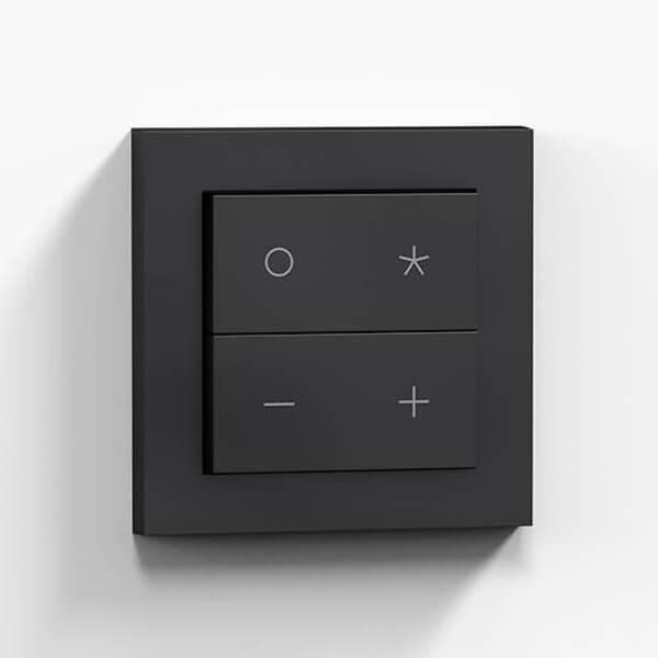 Close up from Nuimo Click Schwarz product where various icons are visible on switches