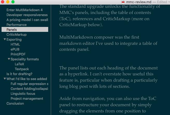 MMC TOC Panel