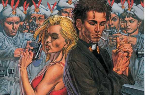 Jess Custer e Tulipa cercados por homens armados em Preacher da Vertigo