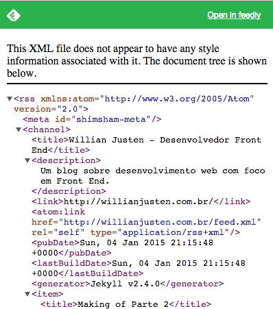 Imagem mostrando uma tela com xml para rss
