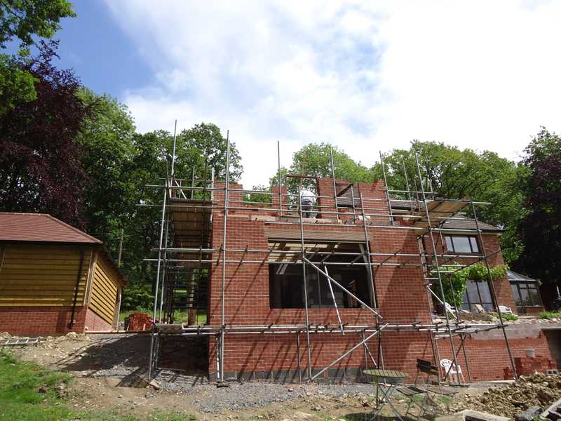 Progression of a two storey extension to a client's property in Malvern