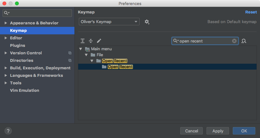 Finding the 'Open Recent' shortcut in the Keymap preferences