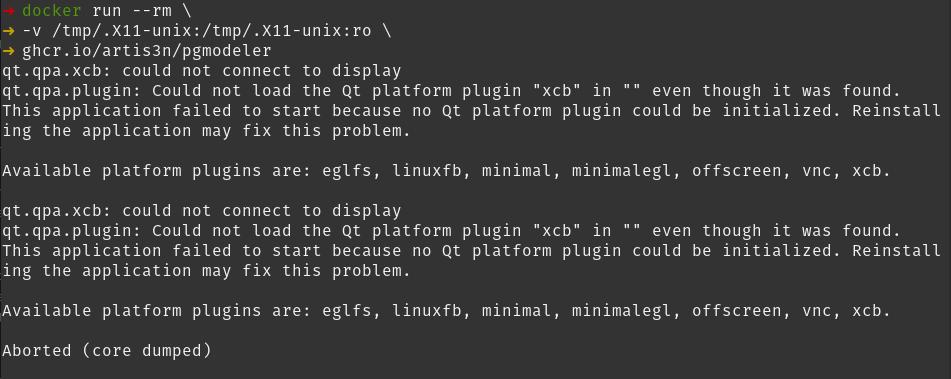 docker run x11 core dump