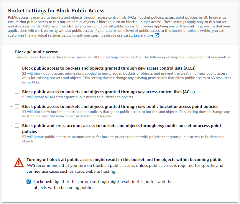 AWS settings panel for public access