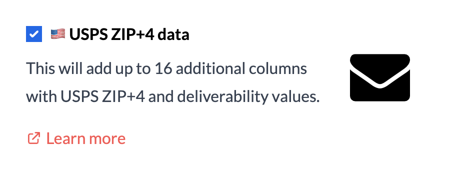 USPS ZIP+4 data append checkbox in upload process