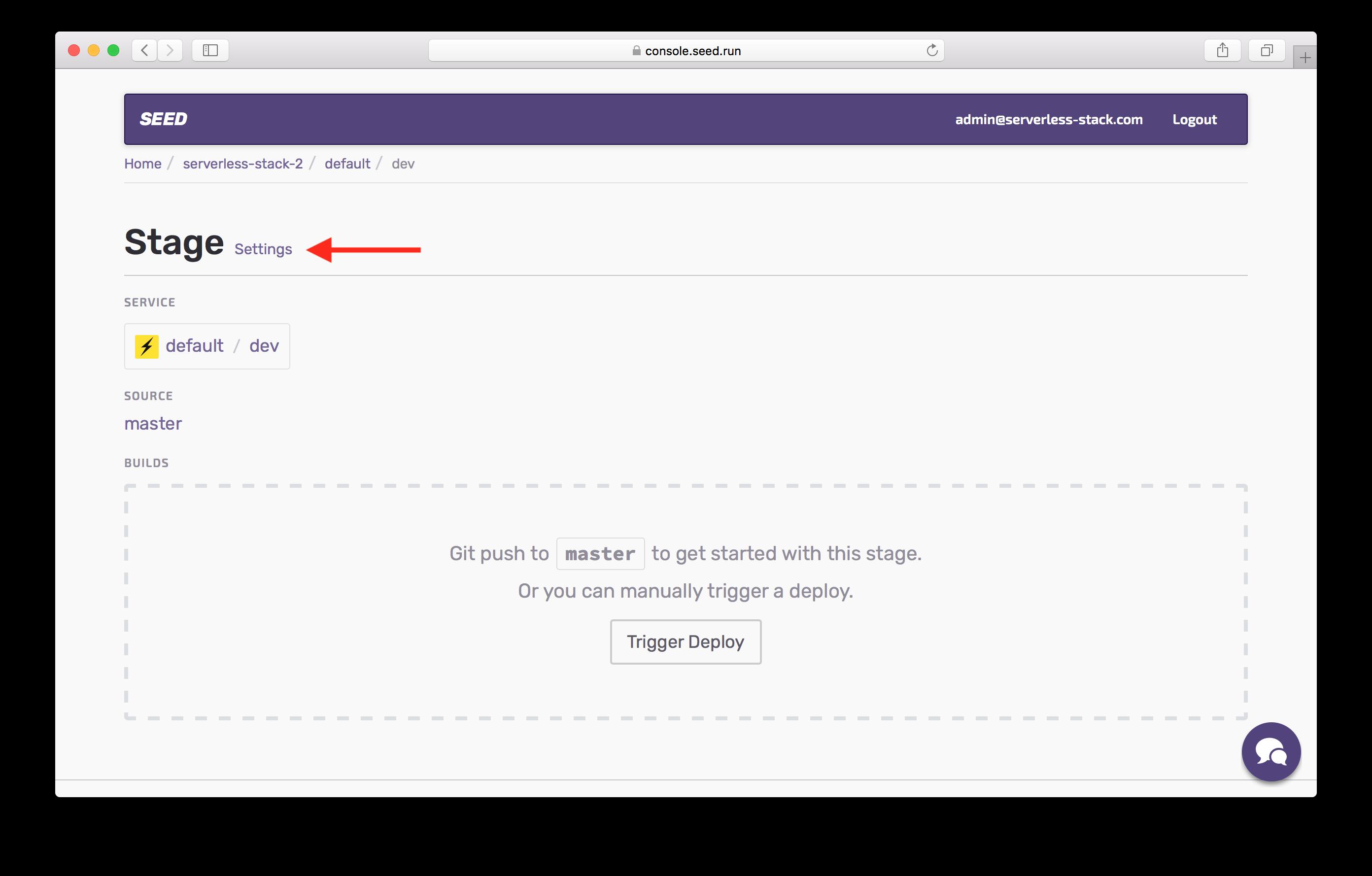 Select Settings in dev stage screenshot