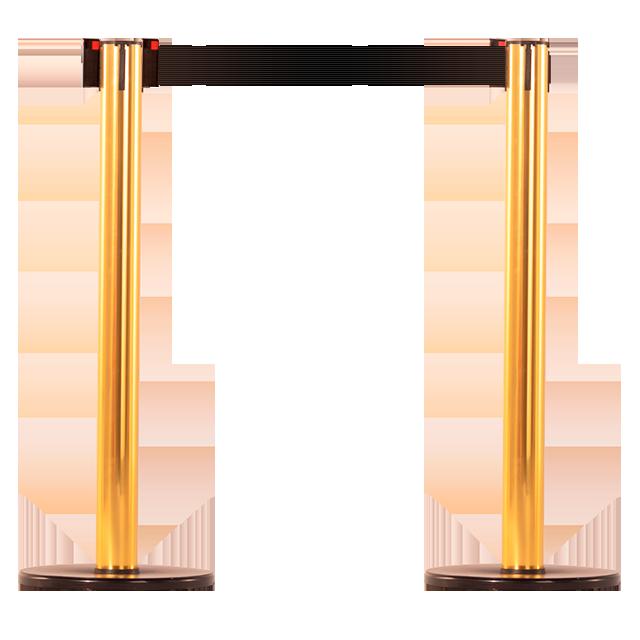 Pedestal em alumínio com acabamento dourado.