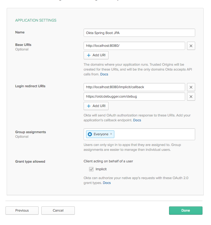 Configure OIDC application settings