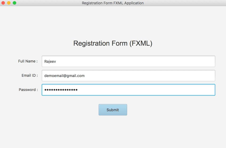 JavaFX FXML registration form GUI example