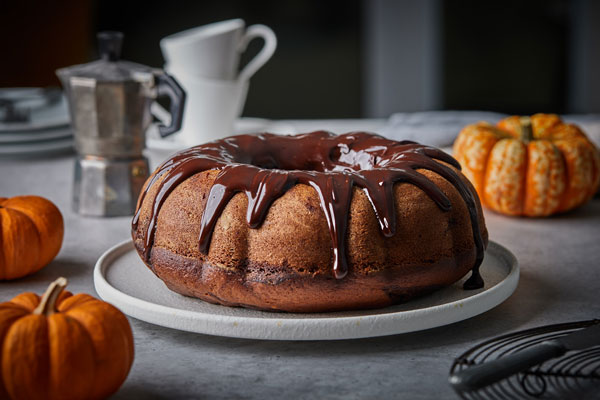 Pumpkin Espresso Bundt Cake With A Chocolate Espresso Rum Glaze