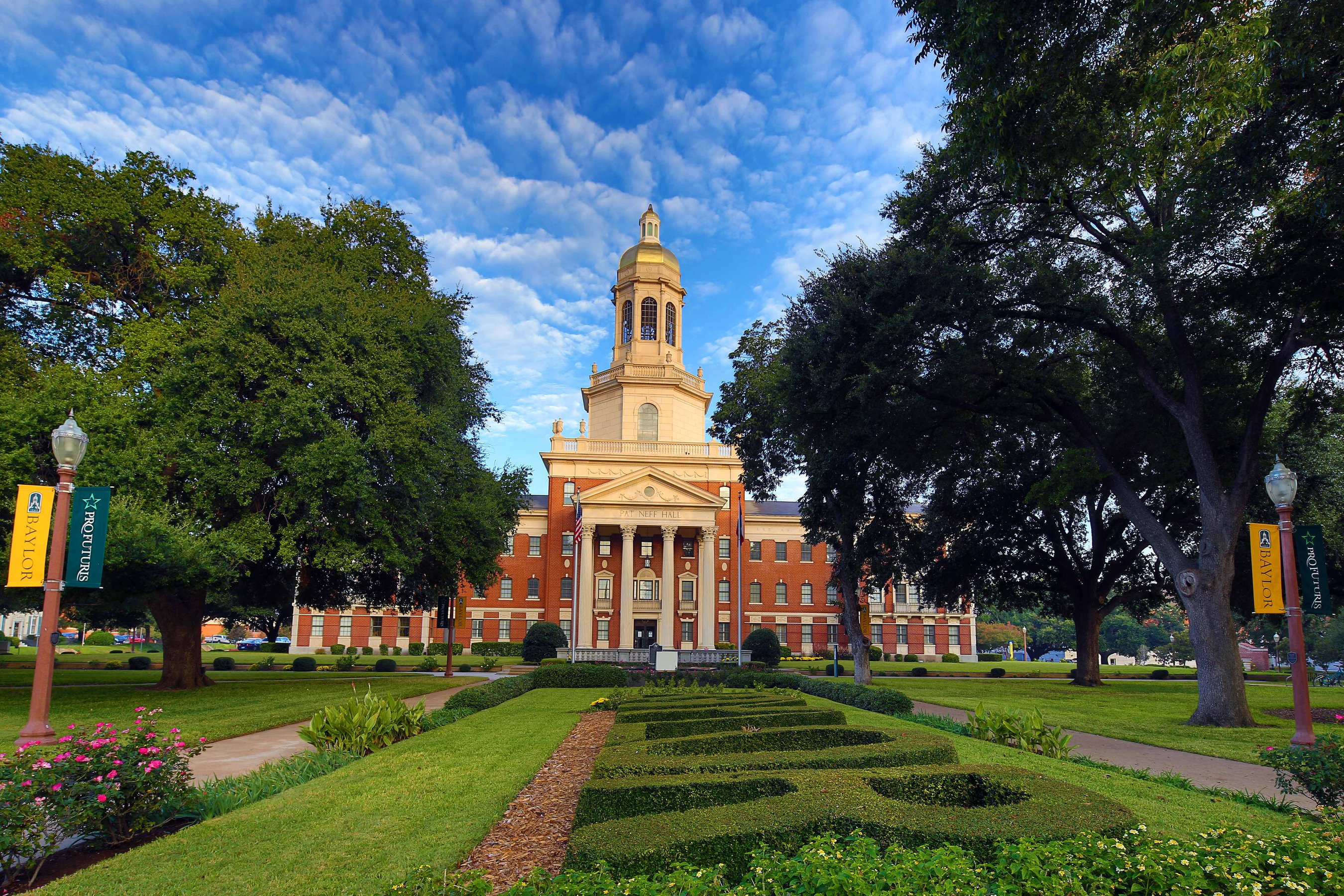 A view of Baylor University's Founders Mall in front of Pat Neff Hall