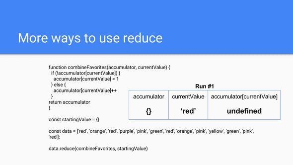Using Reduce 11