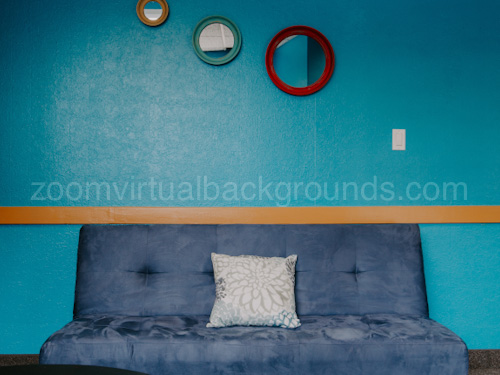 Simple Home Study Virtual Background for Zoom with sofa and blue wall with round mirrors
