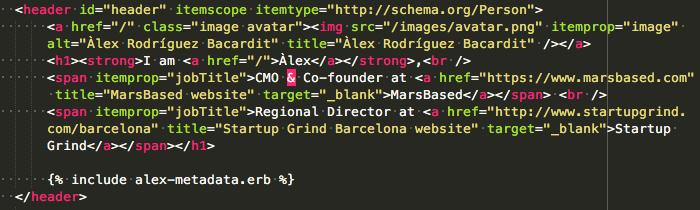 Schema.org metadata HTML code