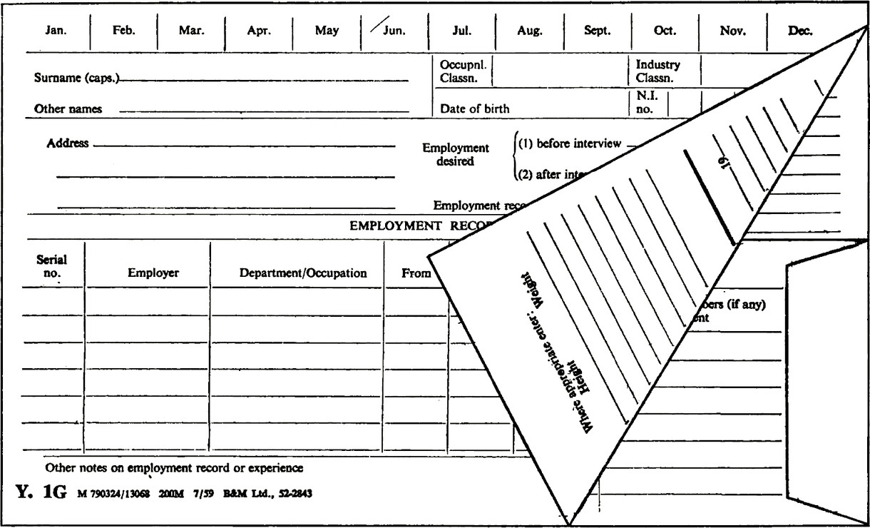 A form folded in half and made up as a wallet for use as a card index with signal tabs to progress action