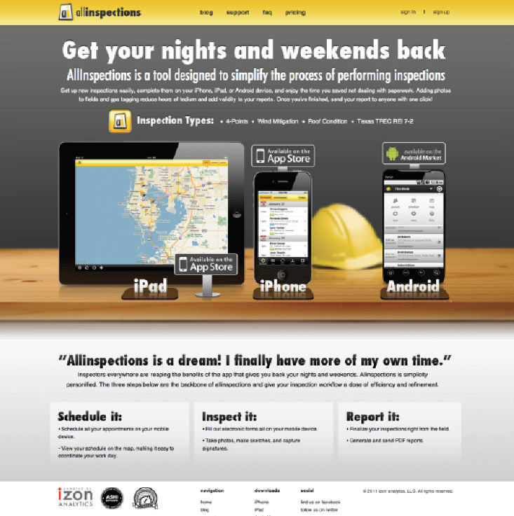 The allinspections landing page