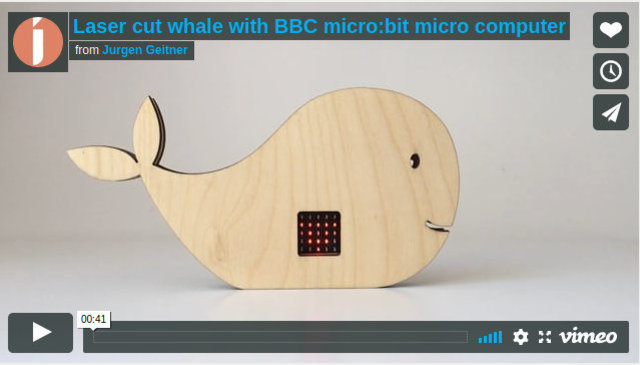 Image from the post Laser cut whale with BBC micro:bit